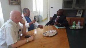 Un momento dell'incontro con Novellini, Santoro e Onwubere
