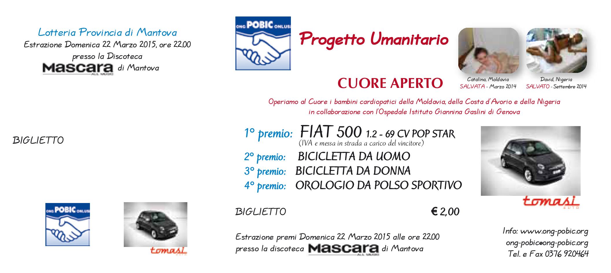 Biglietto Lotteria ONG-POBIC Mascara 2015